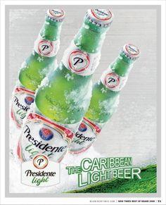 Cerveja Presidente Light, estilo Lite American Lager, produzida por Cerveceria Nacional Dominicana, República Dominicana. 4.3% ABV de álcool.
