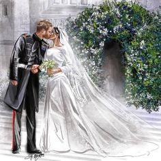 May 2018 - Amazing artwork and illustration inspired by the royal wedding of Prince Harry and Meghan Markle. Stunning display of their first kiss as husband and wife in front of St George's Chapel Harry And Meghan Wedding, Harry Wedding, Prince Harry And Megan, Princess Meghan, Prince And Princess, Royal Princess, Lady Diana, Prinz Harry Meghan Markle, Sussex