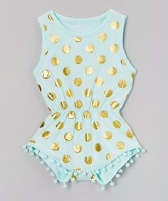 $14.99 marked down from $29! Mint Pom Pom Metallic Romper - Infant #infant #baby #mint #romper #gold #boho #zulily! #zulilyfinds