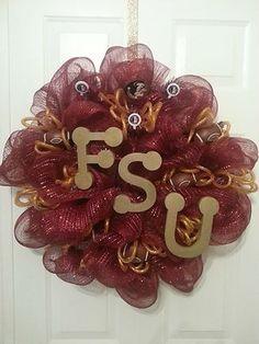"FLORIDA STATE UNIVERSITY ""FSU"" THEME GARNET AND GOLD DECO MESH WREATH"