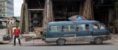 Vermoeide bestelwagen (Cambodja)