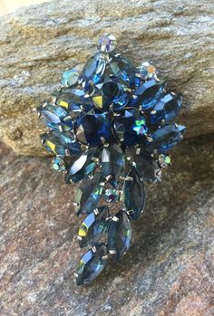 Cobalt Blue Brooch Blue Rhinestone Brooch Blue Statement Brooch by PassingTides on Etsy