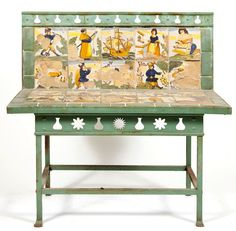Italian tile garden bench