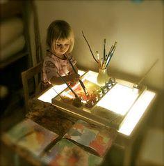 ライトテーブルで水彩アート