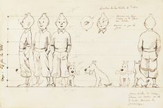 Hergé's hand drawing to help with the creation of the first Tintin product – a little toy statuette – which required to see Tintin from all sides Comics Illustration, Illustrations, Character Sheet, Comic Character, Pen Sketch, Sketches, Animation Classes, Herge Tintin, Bd Art