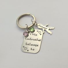 Personalised Godmother present - personalized godmother keychain gift - This Godmother belongs to - personalised christening gift present by EmsStampedJewellery on Etsy