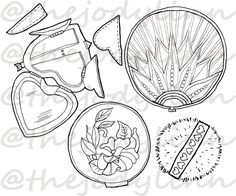 Museum Drawer: Powder Compacts 1. Instant Download Digital Stamp Bundle. Line Art Illustration for Cards and Crafts Digital Stamps, Line Art, Drawer, Powder, Illustration Art, Museum, Personalized Items, Cards, Etsy