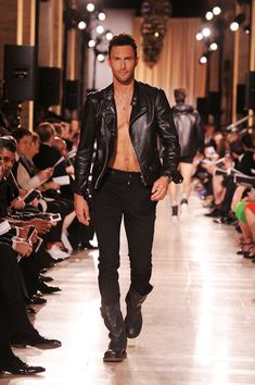 because there is no reason not to pin this!!!! black leather jacket in a shirtless body....Adam Levine look alike in Noah Mills