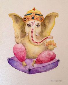 Ganesha, aquarela / watercolor  21x15cm.  Yoga namaste meditation original art  Venda / encomenda / Commission drigalindo1@gmail.com