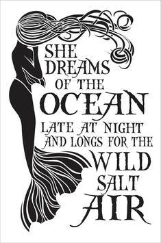 She Dreams of the Ocean Mermaid stencil 10.5 inches x 16.5 inches