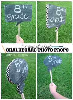 1st day of school chalkboard photo props - easy DIY back to school project at shakentogetherlife.com