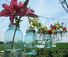 #flowers #masonjars #blueskies #pretty