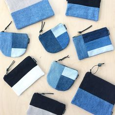 Updates from DesignSandberg on Etsy Crazy Patchwork, Patchwork Bags, Quilted Bag, Denim Patchwork, Bag Quilt, Denim Crafts, Recycled Denim, Fabric Bags, Fabric Basket