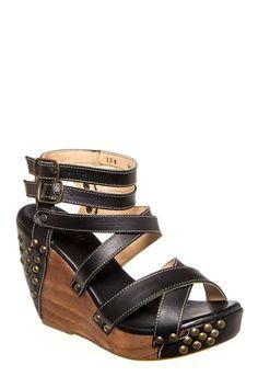 Bed:Stu - Michaela High Wedge Platform Sandal - Black Rustic at DNA Footwear 145.00
