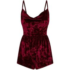 Burgundy Crushed Velvet Cowl Front Playsuit ($40) ❤ liked on Polyvore featuring jumpsuits, rompers, playsuit, red rompers, burgundy romper, playsuit romper and red romper
