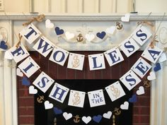 Having a Nautical themed Wedding- Bridal shower or engagement party? Here is a perfect banner to add that personal touch!! This Two Less Fish in the Sea banner is made on 4x4 inch white or brown chipboard pieces. I hand stamp each letter in your color choice of acrylic paint. The SAMPLE banner shows navy letters on white chipboard. Then I use your color choice of paint and hand stamp the anchors. I used metallic gold for the sample banner. The sample banner shows clean edges but I can…