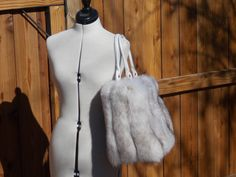 Large Fluffy Real White with Dark Tips Fox by DawnONeillDesigns
