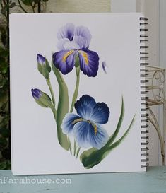 How to Paint an Iris in acrylics, an eas, step by step painting tutorial with video. You can learn how to paint an Iris one simple stroke at a time! Simple Oil Painting, Iris Painting, Simple Acrylic Paintings, One Stroke Painting, Acrylic Painting Techniques, Painting Lessons, Art Lessons, Painting & Drawing, Watercolor Paintings