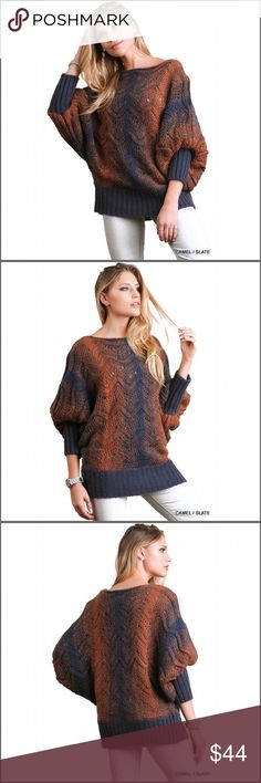 """Chunky Knit Sweater Chunky knit sweater with dolman sleeves. The fabric is very soft. Additional details:    🔹 Color: Camel and slate  🔹 Fabric: 55% cotton /45% polyester  🔹 Size info: Fits true to size  🔹 Model is 5'7"""" and wearing a small Sweaters"""