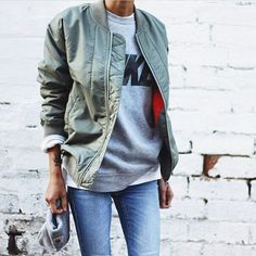 """streetstyleplatform: """"  Military Quilted Bomber Jacket """""""
