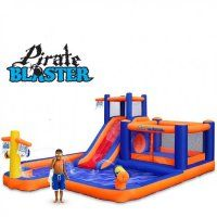 Blast Zone Pirate Blaster - Inflatable Water Park with Blower - Large - Slide - Climbing Wall - Bounce House - Tunnel Outdoor Toys, Outdoor Play, Backyard Water Parks, Backyard Slide, Backyard Toys, Backyard Ideas, Climbing Wall Kids, Inflatable Water Park, Inflatable Bouncers