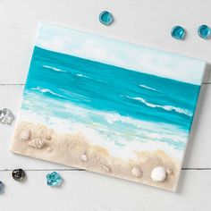 Paint with Plaid Projects Projects - DIY Crafts Beach Themed Crafts, Sea Crafts, Resin Crafts, Seashell Art, Seashell Crafts, Mermaid Canvas, Beach Wall Art, Beach Canvas, Painted Shells