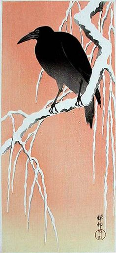 hanga gallery . . . torii gallery: Carrion Crow on Snowy Branch by Ohara Koson