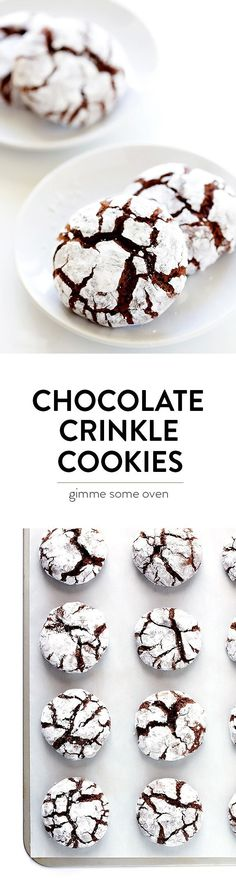 This Chocolate Crinkle Cookies recipe is a classic for a reason! They're eas… This Chocolate Crinkle Cookies recipe is a classic for a reason! They're easy to make, wonderfully sweet and chocolatey, and perfect for the holidays! Köstliche Desserts, Holiday Baking, Christmas Desserts, Delicious Desserts, Dessert Recipes, Yummy Food, Christmas Recipes, Christmas Cookies, Baking Recipes For Cookies