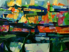 Modern abstract landscape. Large wall art. Original by KowashiArt