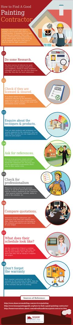 http://www.shawcoremodeling.com/services/painting - Painting a house is not just about getting a can of paint and a pair of rolling brushes. It demands a lot of time, knowledge and expertise. That's why hiring a dedicated painting contractor is a way better option than trying to do the job by yourself. Refer infographic for more details.