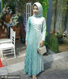 Dress Brokat Muslim, Muslim Dress, Abaya Fashion, Muslim Fashion, Fashion Dresses, Kebaya Dress, Dress Pesta, Batik Dress, Lace Dress