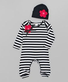 Another great find on #zulily! Black & White Stripe Flower Playsuit & Beanie - Infant by Truffles Ruffles #zulilyfinds