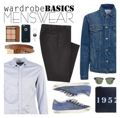 """""""Wardrobe basics"""" by italist ❤ liked on Polyvore featuring Dsquared2, Dondup, Golden Goose, Givenchy, Combatant Gentlemen, Burberry, Ray-Ban, Moshi, Paul Smith and mens"""