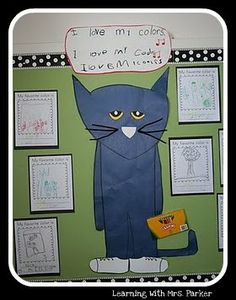 Pete the Cat-Our first unit of study was to identify our colors.  This was easy for most but there were a few who did not know this.  Each day as we've learned our colors, we have colored a page from our Pete the Cat book