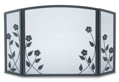Pilgrim 3 Fold Forged Floral Fireplace Screen