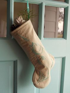 Aquamarine Fish Christmas Stocking with Heirloom Quality Hand Embroidered Greenwork just for You, Fishing Enthusiast, Ready to Ship