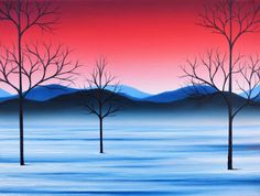 Oil Painting, ORIGINAL Painting, Snowy Landscape Painting, Bare Tree Art, Winter Scene, Red Sky, Mountains, Whimsical Snow Wall Decor, 12x16 by BingArt on Etsy