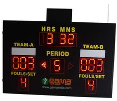 Multi Mini Universal Scoreboard:  Operating Voltage:- 100-275v A.C., 50/60 Hertz, View angle more than 120 degree, View distance 300mtr.   High Intensity LED Display  Radio Frequency Remote Controlled having Range of 500mtr  Solar/A.C. Powered  High Intensity LED  Computer Controlled- Data Files Can be Saved  U.S.B Connectivity
