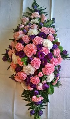 pink and white roses and carnations purple lisianthus coffin funeral spray - is-sit tiegħi Flower Wreath Funeral, Funeral Flowers, Wedding Flowers, Grave Decorations, Flower Decorations, Flower Shop Decor, Casket Flowers, Funeral Sprays, White Roses