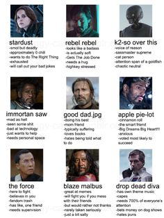 I'm like the good dad, apple pie-lot, and the Force (Galen Erso, Bodhi Rook, and Chirrut Imwe)