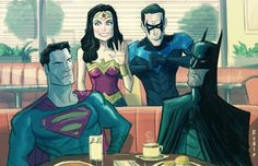 Superman, Batman, Wonder Woman, and Nightwing  YEAH! Ready for action! by Bobby Rubio.