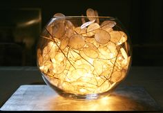Honesty lamp. Put a load of honesty petals and some fairy lights in a glass bowl...hey presto a lamp.