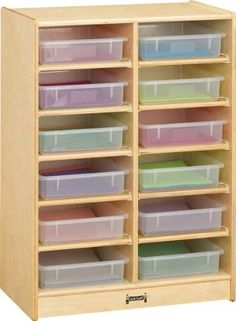 Jonti-Craft 0613JC 12 Paper-Tray Mobile Storage with Colored Paper-Trays