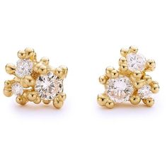 Ruth Tomlinson Diamond Cluster Stud Earrings- Yellow Gold ($2,495) ❤ liked on Polyvore featuring jewelry, earrings, gold, diamond cluster earrings, stud earrings, handcrafted jewelry, gold jewellery and gold earrings