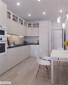 Modern Home Decor Kitchen Kitchen Room Design, Modern Kitchen Design, Home Decor Kitchen, Kitchen Interior, Small American Kitchens, Home Decor Hooks, White Kitchen Cupboards, Elegant Kitchens, Kitchen Trends