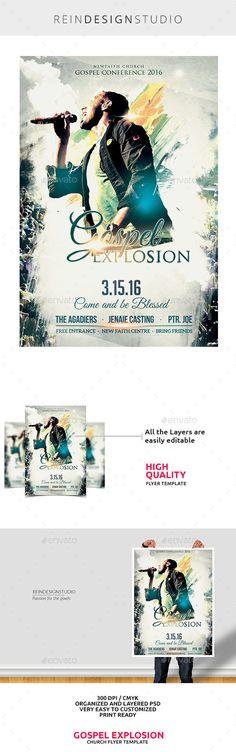 Gospel Explosion Conference 2016 Flyer Template PSD #design Download: http://graphicriver.net/item/gospel-explosion-conference-2016/14423320?ref=ksioks