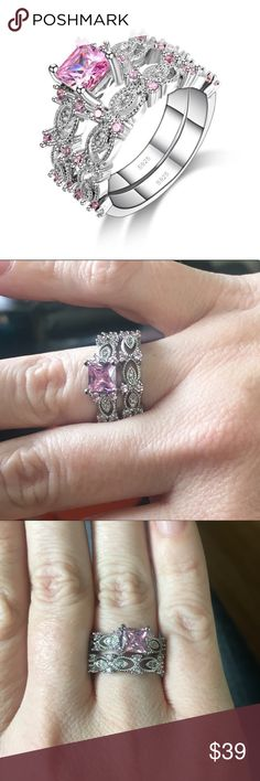 🎀New Stunning  Silver Ring Set Gorgeous 925 silver plated ring set. Pink square cubic zircon center stone with smaller cubic zircon around the bands. 4 BiddenBoutique Jewelry Rings