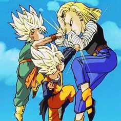 Kid Trunksssj Dragon Ball Z Dragonball Z Android 18 Gotenssj Dbkai GIF Dragon Ball Gt, Nocturne, Goten E Trunks, Manga Anime, Krillin And 18, Android 18, Animation, Gifs, Anime Comics