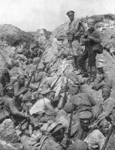 Russian troops waiting for the signal to go over the top, Ternopil, Ukraine. First World War 1 July 1917.