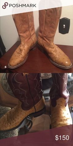 Men's and women's full quill ostrich boots His and Her Matching 'Full Quill' Ostrich Cowboy Boots made by Boulet size 8 (male) & 7.5 (female).  Both in excellent condition. Shoes Heeled Boots
